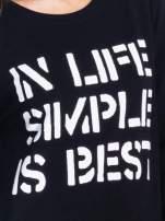 Czarna klasyczna bluza damska z napisem IN LIFE SIMPLE IS BEST
