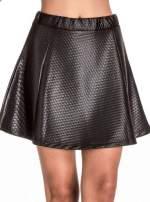 Czarna pikowana spódnica mini ze skóry