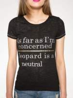 Czarny półtransparentny t-shirt z napisem
