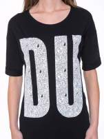 Czarny t-shirt z nadukiem DUDE z przodu i na plecach