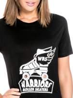 Czarny t-shirt z napisem WARRIORS ROLLER SKATERS