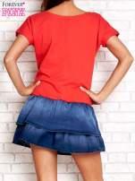 Czerwona sukienka dresowa z jeansowym dołem