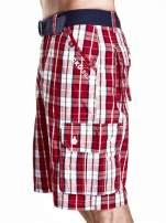 Czerwone długie szorty męskie w kratkę