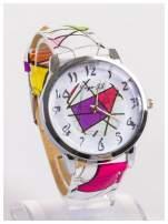 Damski zegarek z ozdobnym motywem geometrycznym na pasku oraz dużej tarczy