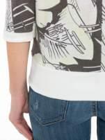 Ecru-czarna bluza z nadrukiem floral print i suwakami