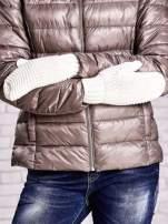 Ecru grube rękawiczki na jeden palec