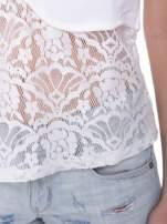 Ecru t-shirt z koronkowym dołem i zamkiem z tyłu