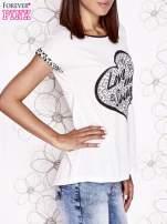 Ecru t-shirt z napisem LOVE AND SWAG