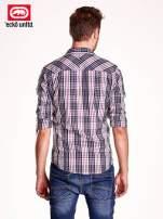 Fioletowa koszula męska w kratę