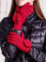 Fuksjowe rękawiczki z kokardką i długim ściągaczem