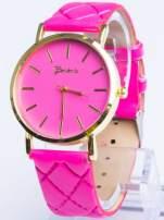 GENEVA Ciemnoróżowy zegarek damski na pikowanym pasku