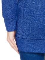 Granatowa bluza dresowa z kapturem z materiału a'la denim