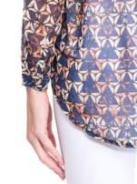Granatowa koszula mgiełka w geometryczne wzory