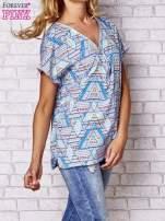 Granatowa koszula w geometryczne wzory