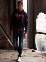 Granatowa ocieplana bluza męska z napisem CALIFORNIA i kapturem