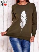 Khaki bluza z piórkiem