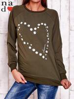 Khaki bluza z wzorem serca