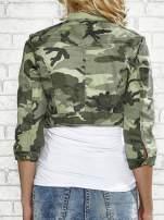 Khaki krótka kurtka z aplikacją na kołnierzu