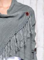 Khaki otwarty sweter z podwijanymi rękawami