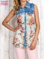 Miętowa koszula z kwiatowym motywem