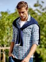 Niebieska koszula męska w kolorową kratkę