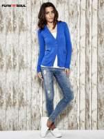 Niebieski sweter zapinany na guziki Funk n Soul
