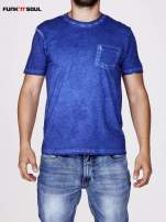 Niebieski t-shirt męski z efektem dekatyzowania Funk n Soul