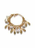 Perłowo - złota Bransoletka z zawieszkami