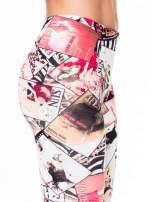 Różowe legginsy z nadrukiem magazines print