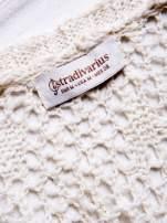 STRADIVARIUS Ecru sweter kardigan z kieszeniami