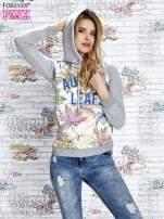Szara bluza z nadrukiem liści i napisem AUTUMN LEAFS