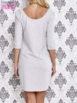 Szara dresowa sukienka z wiązaniem na plecach