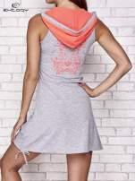 Szara melanżowa sukienka sportowa z kapturem