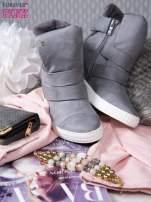 Szare zamszowe sneakersy bandage