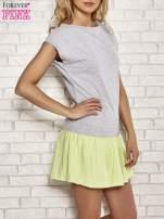 Szaro-zielona dresowa sukienka tenisowa z kieszonką