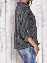 TOM TAILOR Czarna koszula z drobnym geometrycznym wzorem