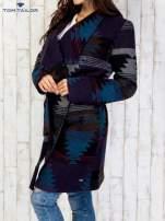 TOM TAILOR Płaszcz z szerokim kołnierzem w azteckie wzory