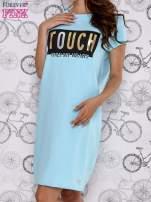Turkusowa sukienka dresowa ze złotym napisem TOUCH