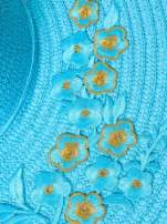 Turkusowy kapelusz słomiany z dużym rondem i kwiatkami