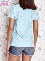 Turkusowy t-shirt z napisem BONJOUR