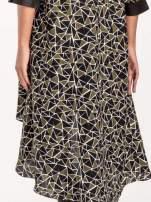 Wzorzysta sukienka mgiełka ze skórzanymi wstawkami