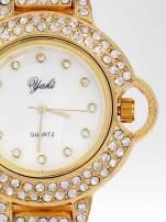 Złoty cyrkoniowy zegarek na bransolecie z ozdobą przy koronce