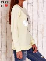 Żółta bluza ze srebrnym nadrukiem