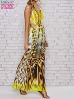 Żółta sukienka maxi z odkrytymi plecami