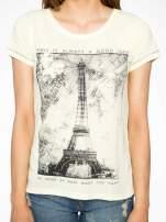 Żółty t-shirt z nadrukiem wieży Eiffla