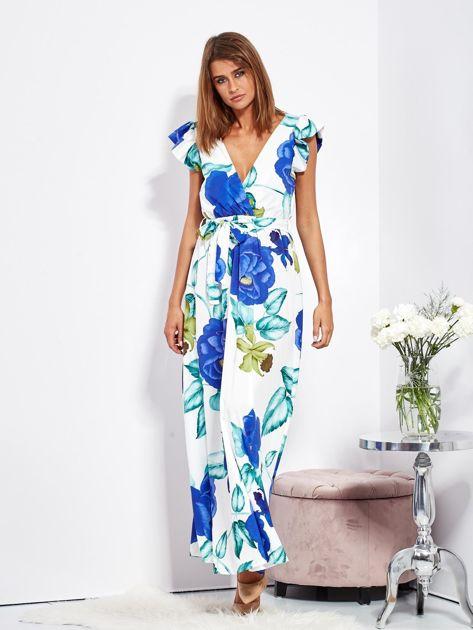 SCANDEZZA Biało-niebieska długa sukienka w kwiaty                              zdj.                              4