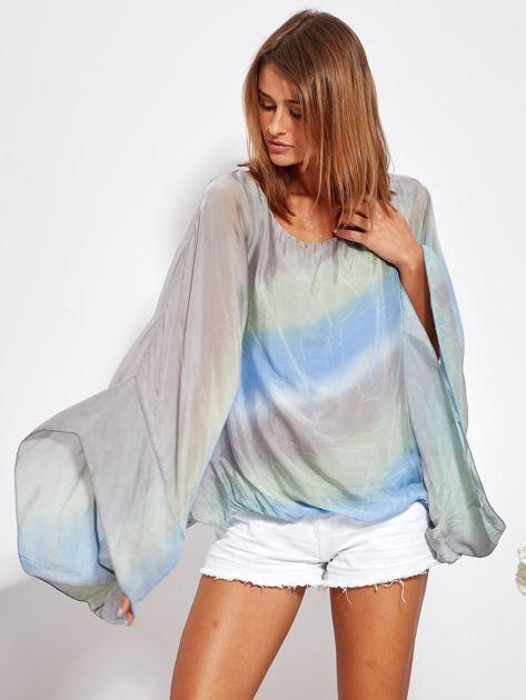 Niebiesko-szara zwiewna bluzka ombre                              zdj.                              2
