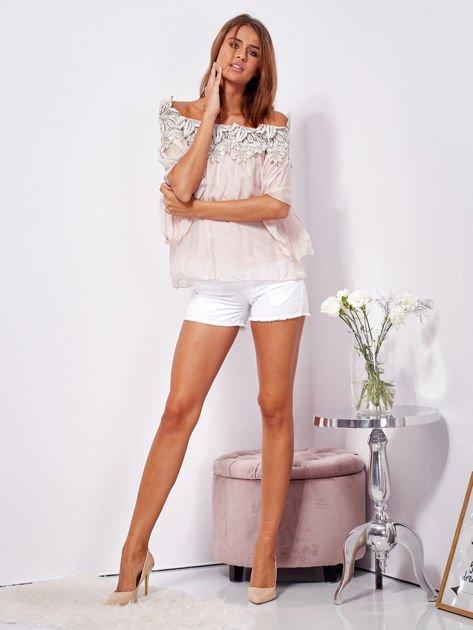 Różowa warstwowa bluzka hiszpanka z koronką                              zdj.                              4