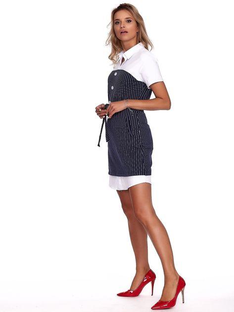 Granatowa sukienka w paski z kołnierzykiem                              zdj.                              5