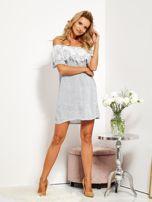 SCANDEZZA Biało-niebieska sukienka hiszpanka w cienkie paski                                  zdj.                                  8